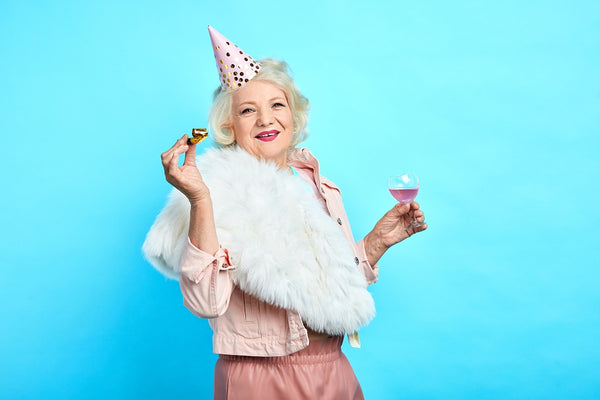 mature woman celebrating