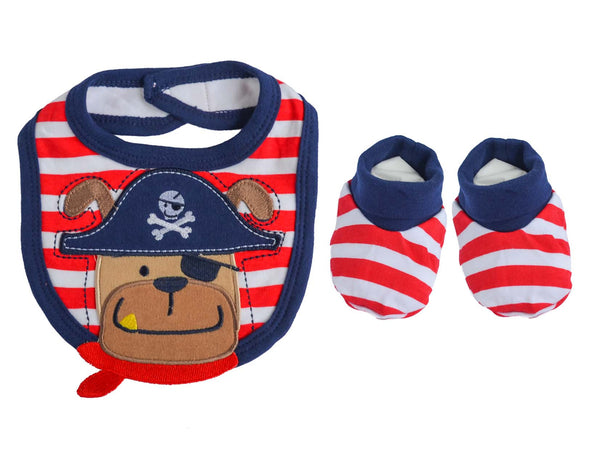"""Pirate"" bib & booties"