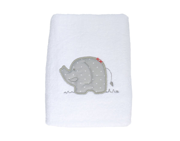 Super Plush Towel with Embroidered Elephant
