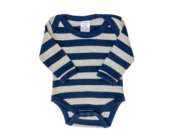 Baby Boy Grey and Navy Long Sleeve Bodysuit