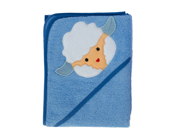 Baby Boy Blue Hooded towel with Embroidered Lamb