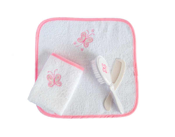 Baby Girl Brush Set with Wash Towels