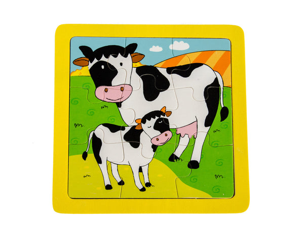 Baby with Mother Cow Wooden Puzzle