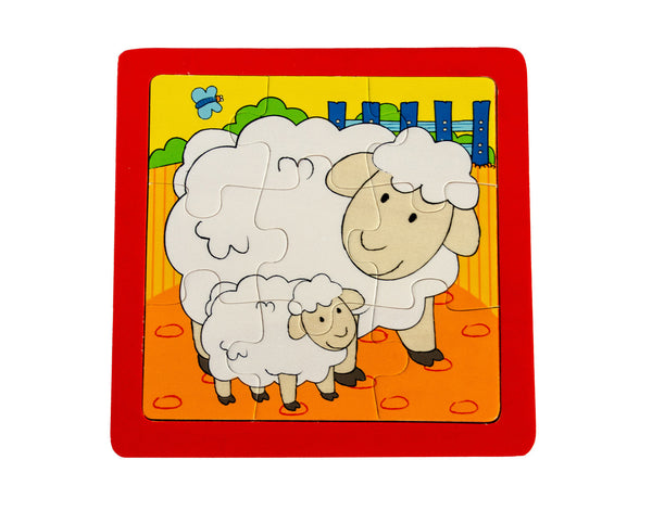 Baby with Mother Sheep Wooden Puzzle