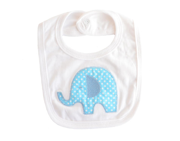 Baby Boy Embroidered Elephant Bib