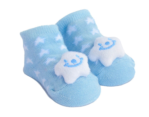 Baby Boy Booties with Rattle