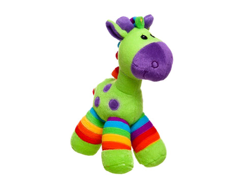 Bright multi coloured giraffe toy