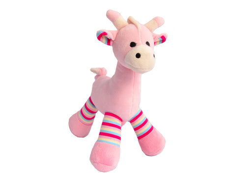 Pink Giraffe Plush Rattle Toy