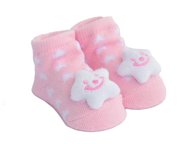 Soft Pink Star Rattle Booties