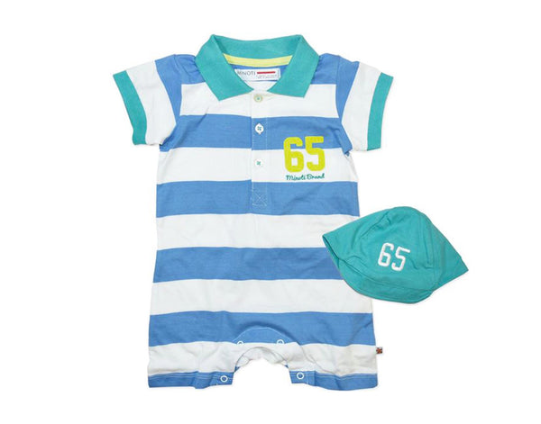 Blue & White Stripe Polo Romper and Cap Set