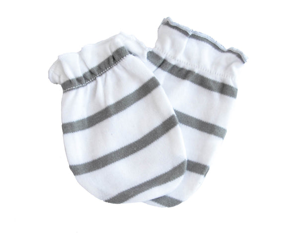 Striped Cotton Baby Mittens