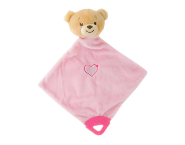 Pink Teddy Comforter Blankie with Teether