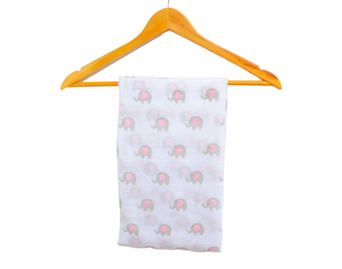 Baby Girl Elephant Muslin Wrap
