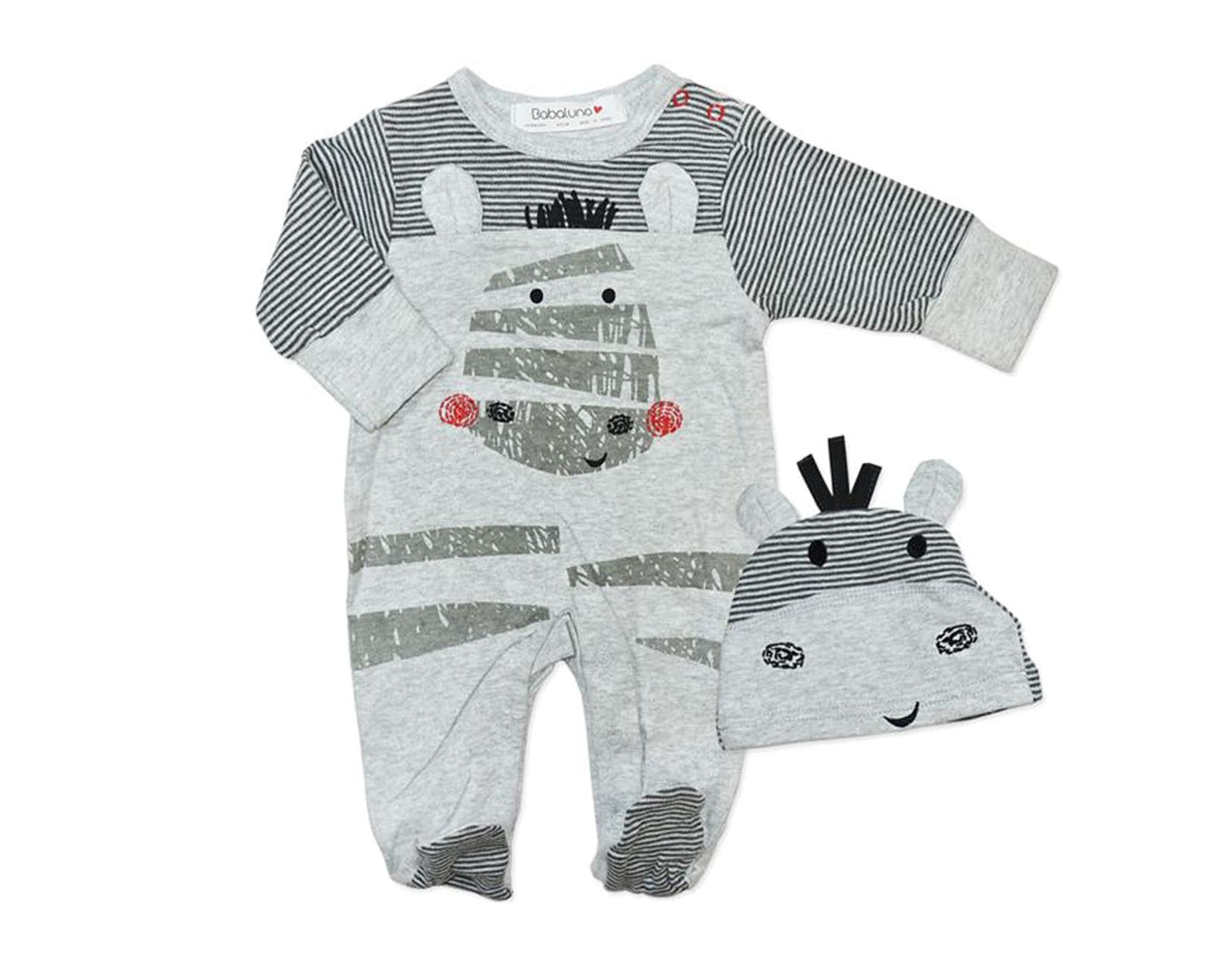 37cecb554689 Zebra Long Sleeve Romper with Matching Hat - The Little Baby Shop