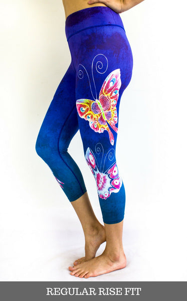 NEW - SENI Blue Beauty Capris - Butterfly Design