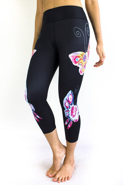 SENI Black Beauty Capris - Butterfly Design