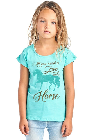 """All You Need Is Love And A Horse"" Kids T Shirt"