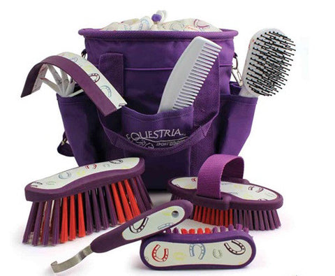 Equestria™ Sport Horseshoes™ 8 piece Grooming Brush Kit - Violet Purple