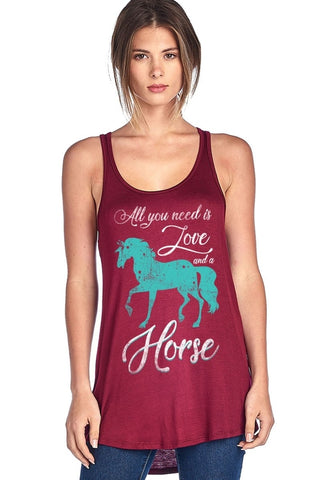 """All You Need Is Love And A Horse"" Tank Top"
