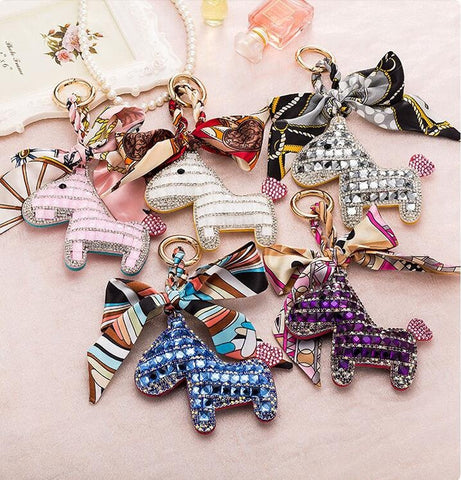Crystal Horse Key Chain Bag Charm Key Ring Car Pendant