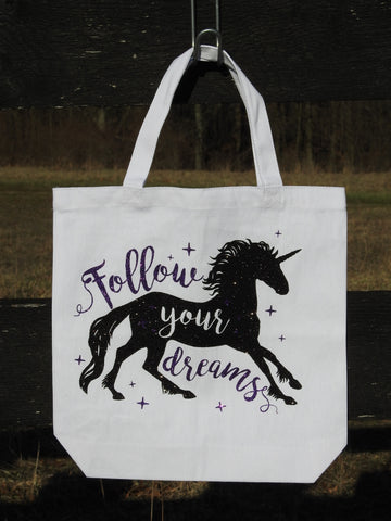 Follow Your Dreams Unicorn Horse Tote Bag - Canvas Bag - GLITTER!