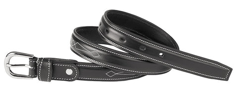 USG Womens Black Leather Fancy Stitched Belt