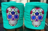 Sugar Skull Embroidered Polo Wraps - The Houndstooth Horse  - 2