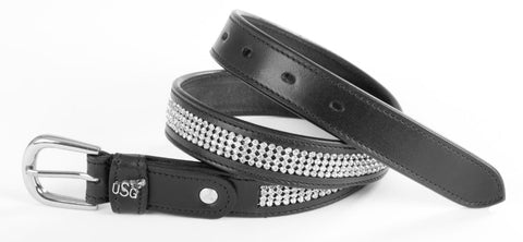 USG Womens Princess Leather and Crystal Diamond Belt