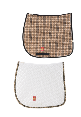 Embroidered Monogram Baker Plaid Dressage Pad