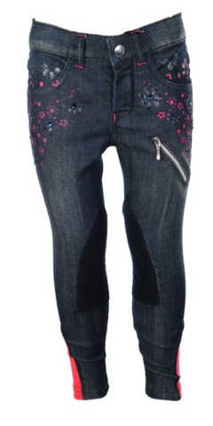 Champ Flower Print Jeans Kids Knee Patch Breech