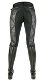 Black Denim Flower Full Seat Breech