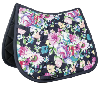 HKM Floral Saddle Pad - Black Flower