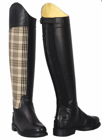 Baker Ladies Schooling Leather & Plaid Tall Boots