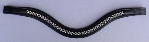 Red Barn Curved PEARL & CRYSTAL Padded Browband