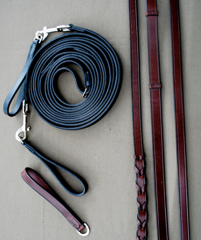Red Barn Black or Brown Leather Draw Reins