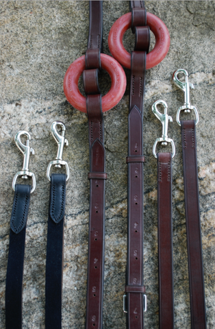 Red Barn Black or Brown Leather Side Reins w/ Donut