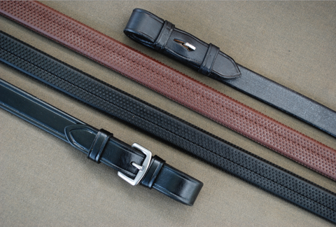 Red Barn Leather RUBBER Black or Brown Reins