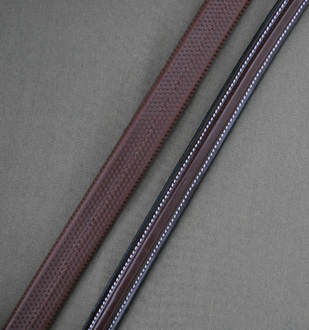 Red Barn Leather Square Raised Rubber Reins