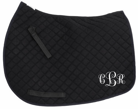 Black All Purpose or Pony Monogram Embroidered personalized Saddle Pad