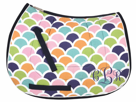 Colorful Scallop All Purpose or Pony Monogram Embroidered personalized Saddle Pad