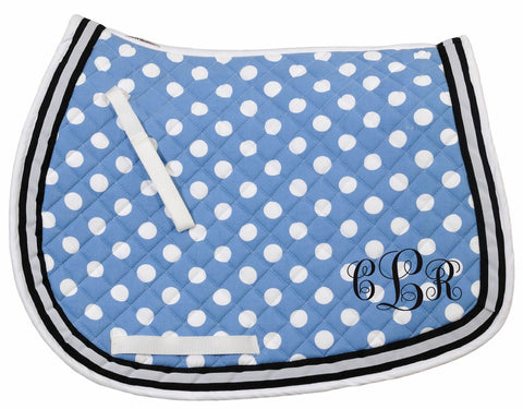 Cornflower Blue & Navy Polka Dot All Purpose Monogram Embroidered personalized Saddle Pad