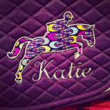 Applique Embroidered Jumper Saddle Pad - The Houndstooth Horse  - 1