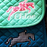 Applique Embroidered Jumper Saddle Pad - The Houndstooth Horse  - 2