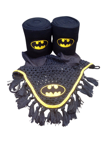 Batman Logo Embroidered Polo Wraps and Fly Bonnet set - The Houndstooth Horse
