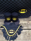Batman Logo Embroidered Set Saddle Pad, Polo Wraps and Fly Bonnet - The Houndstooth Horse  - 2