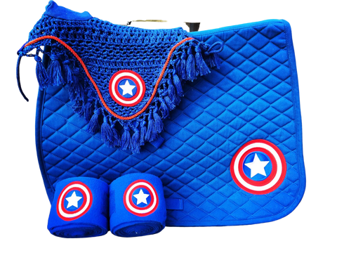 Captain America Logo Embroidered Set Saddle Pad, Polo Wraps and Fly Bonnet - The Houndstooth Horse  - 1