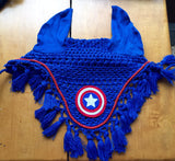 Captain America Logo Embroidered Complete Set Saddle Pad, Polo Wraps and Fly Bonnet