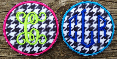 "Custom Houndstooth Monogram Patch 2.6"" circle - The Houndstooth Horse"