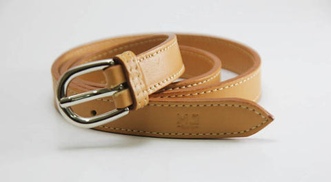 Belt genuine leather mustard yellow women -