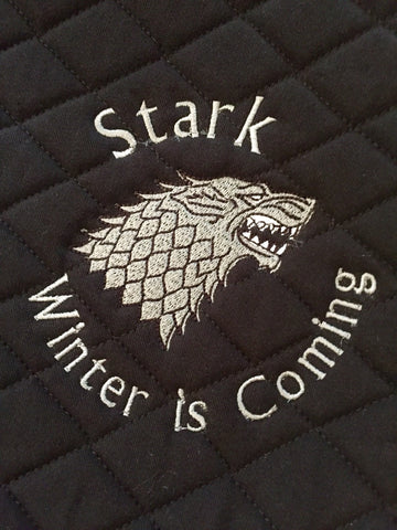 Game of Thrones Stark winter is coming Embroidered Saddle Pad - The Houndstooth Horse  - 1